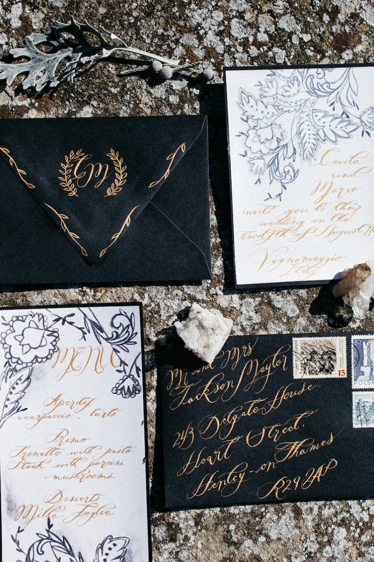 Style Shoot in Tuscany, Italy hand painted wedding stationery with gold calligraphy