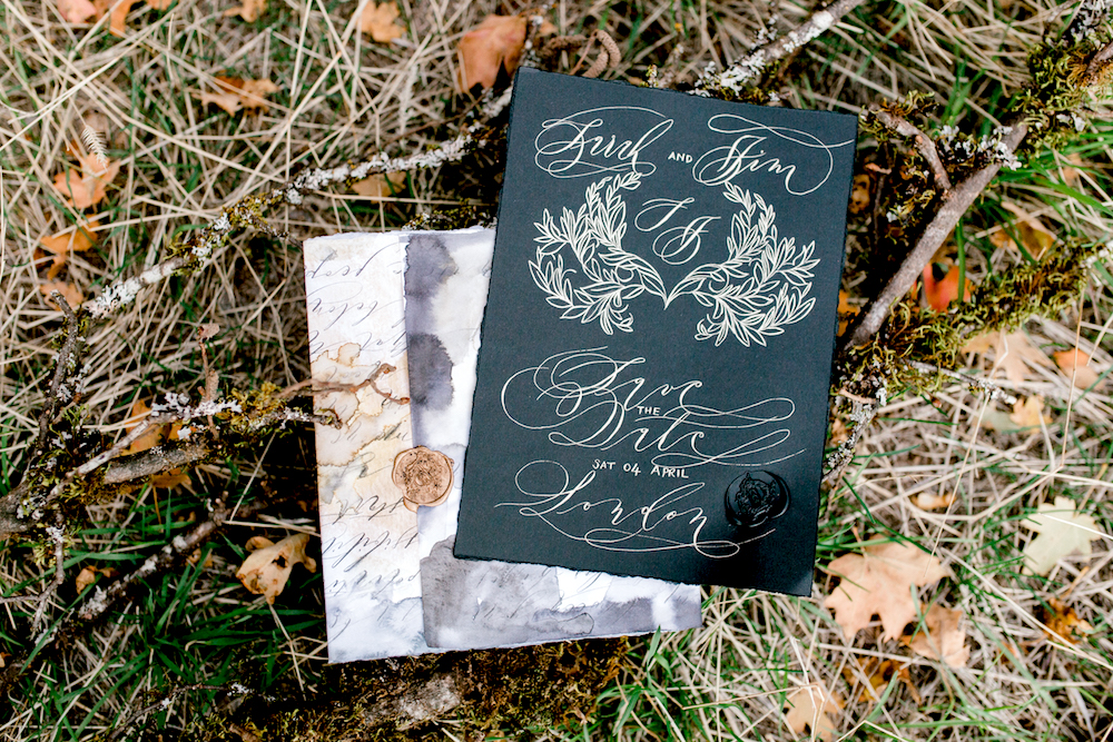 Custom Hand Painted Invitations black save the date