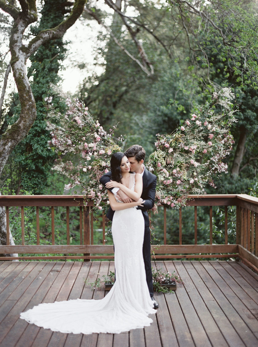 Neutral Wedding Inspiration_bride and groom embrace