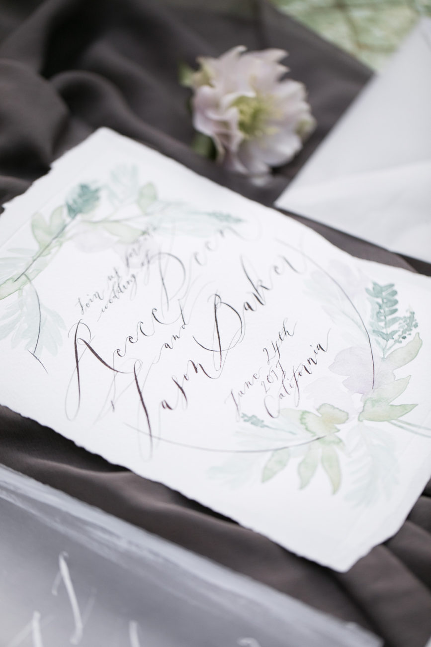 Neutral Wedding Inspiration_hand painted wedding invitation