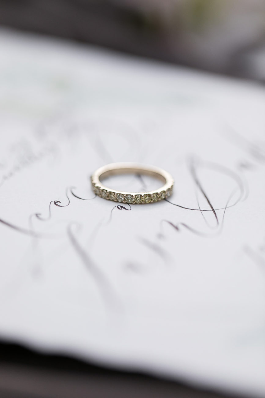 Neutral Wedding Inspiration_calligraphy with ring