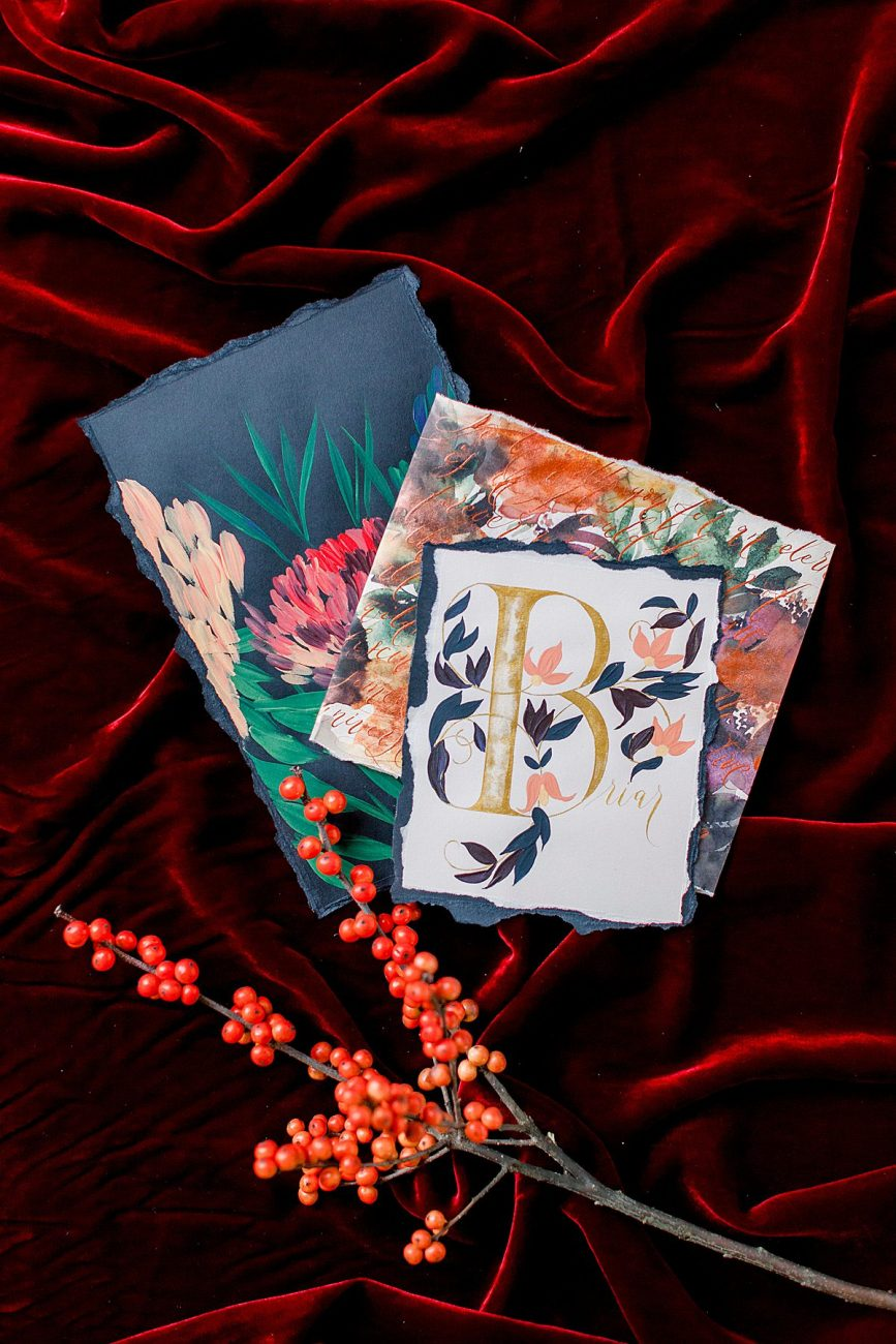 Baroque Wedding stationery with black hand painted wedding menu and large place name