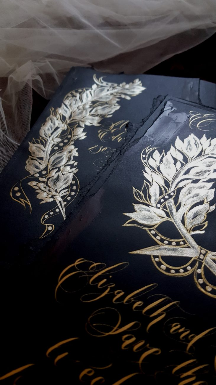 Black Tie Party Invitation gold crests
