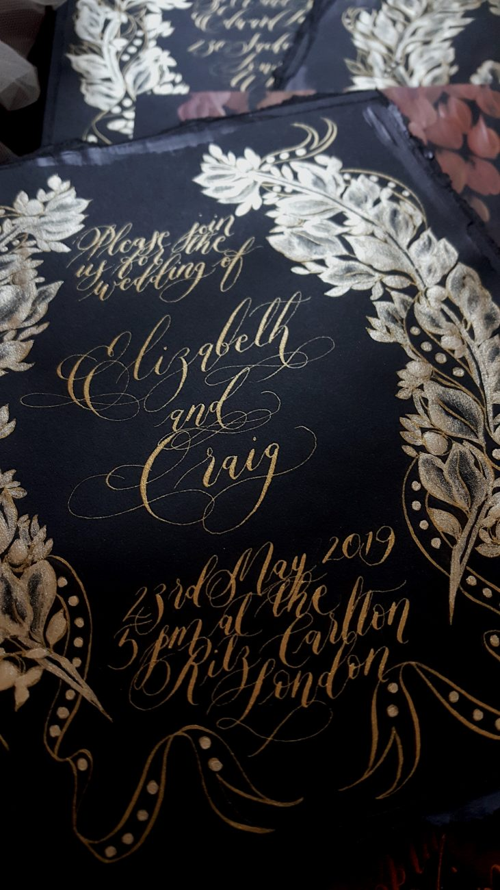 Black Tie Party Invitation with gold hand painted crest detail