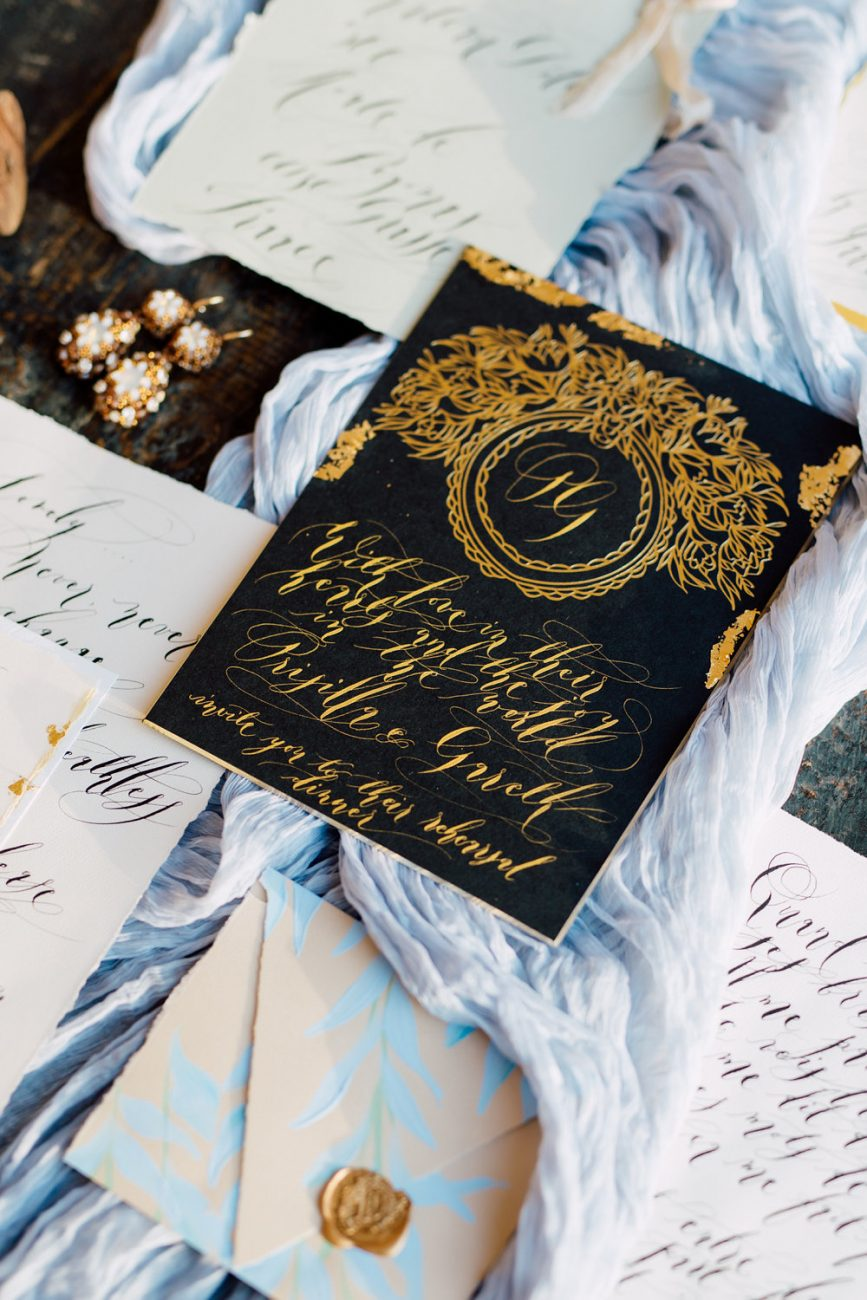 French Wedding Invitations - black invitation card with gold calligraphy and envelope
