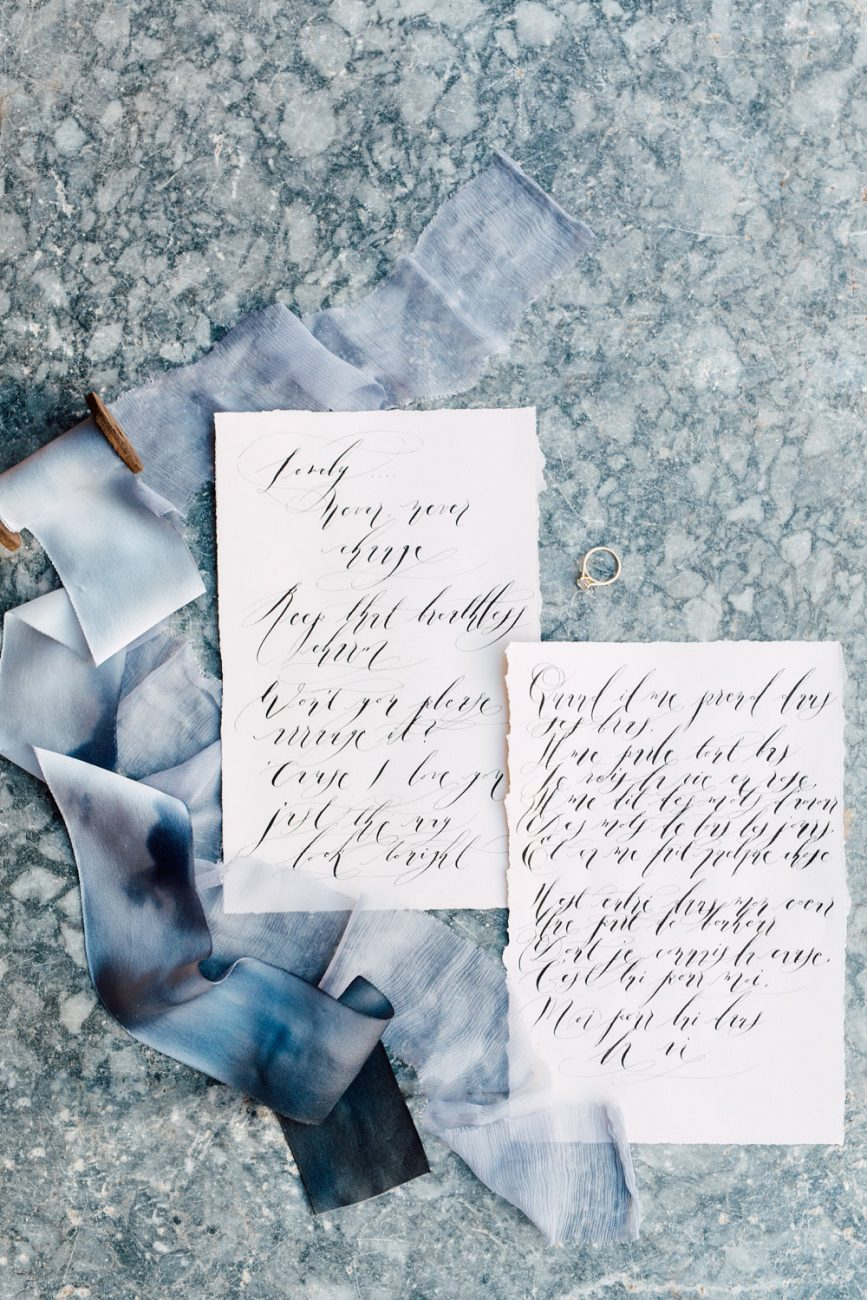 French Wedding Invitations - calligraphy love letters