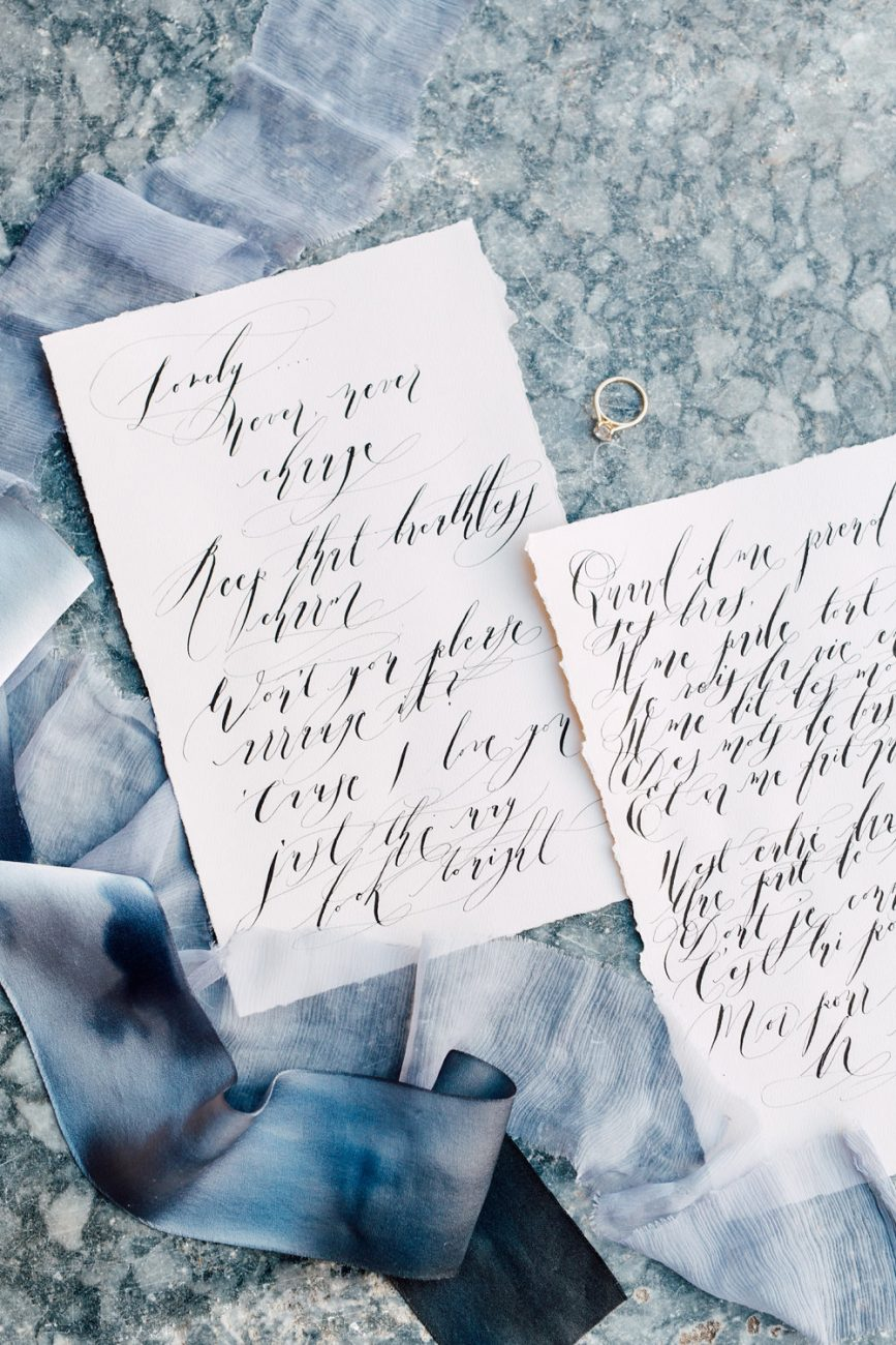 French Wedding Invitations - calligraphy love sonnets slanted