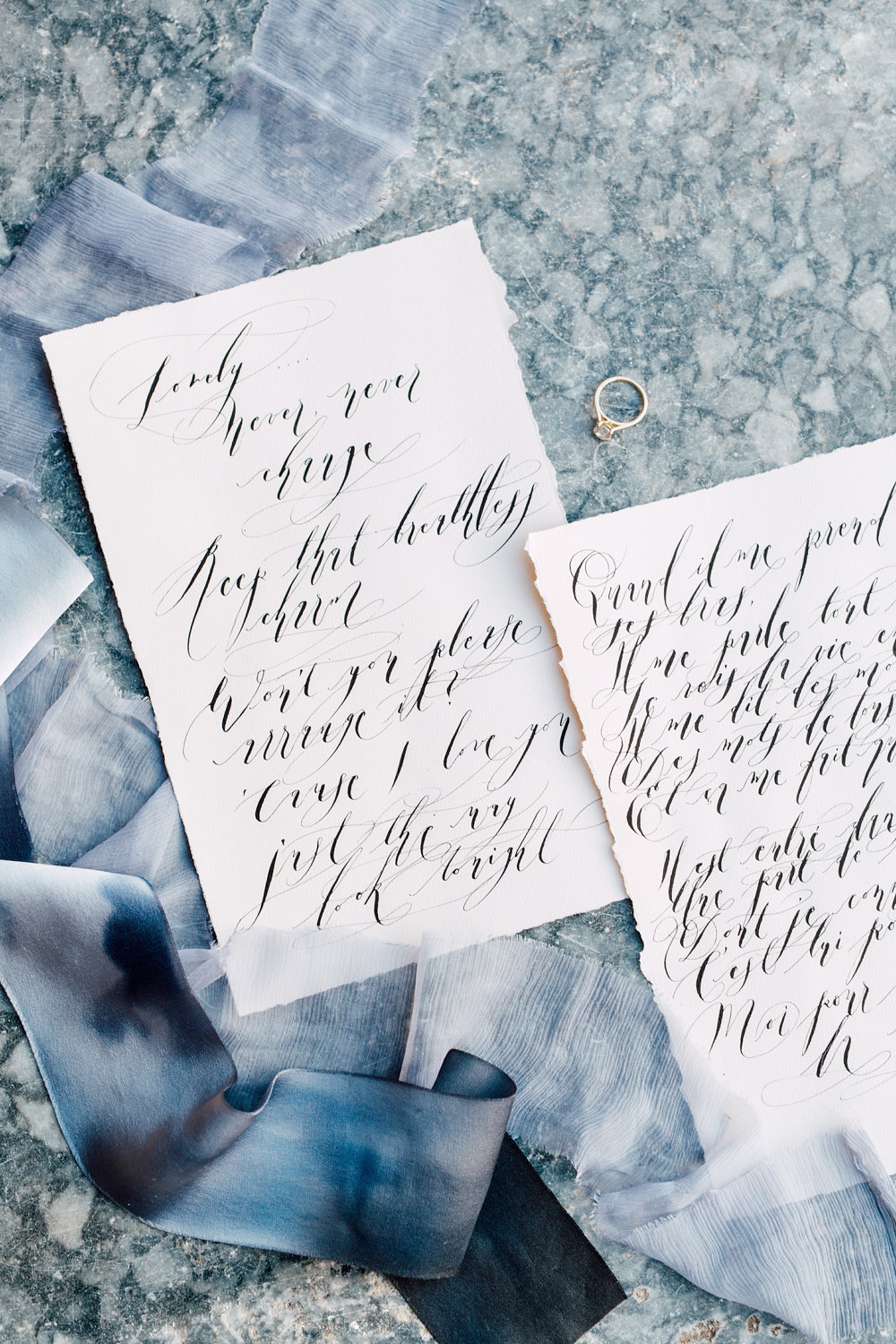 French Wedding Invitations Calligraphy Love Sonnets Slanted