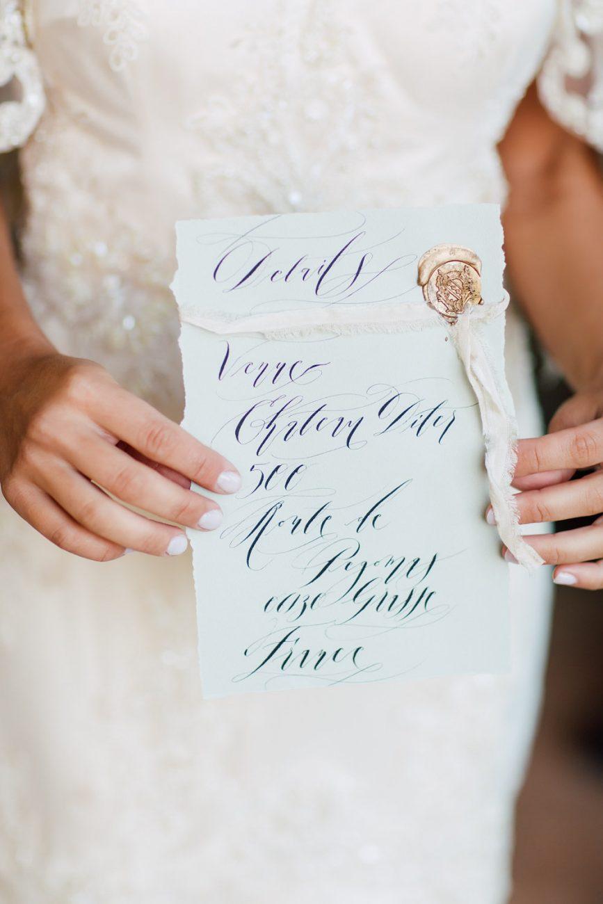 French Wedding Invitations -fine art wedding calligraphy for a venue