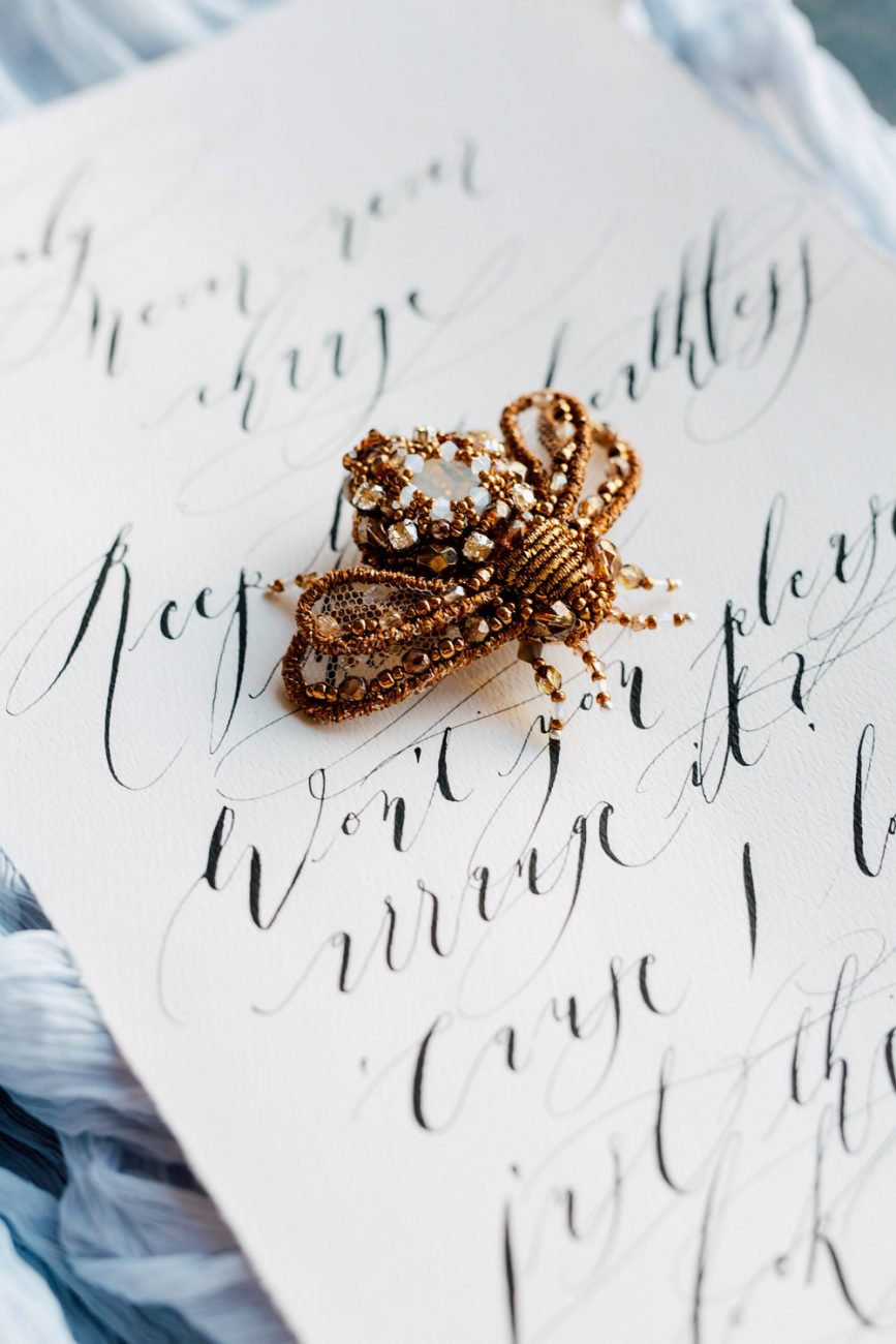 French Wedding Invitations - love note with gold bee