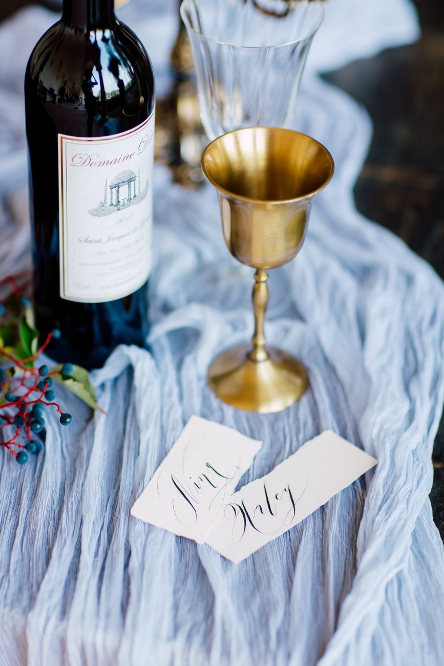 French Wedding Invitations - place names with gold cup