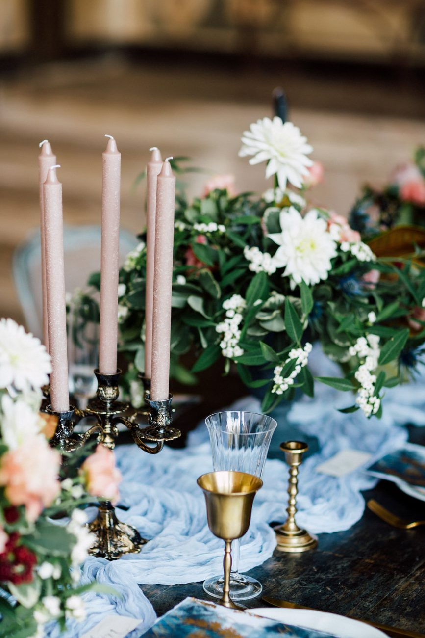 French Wedding Invitations - table setting inspiration with dusky pink candles