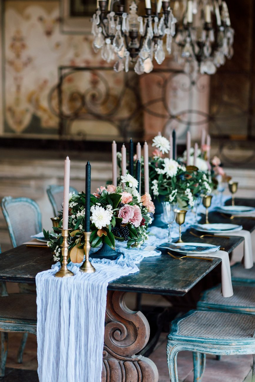 French Wedding Invitations - table setting with flowers