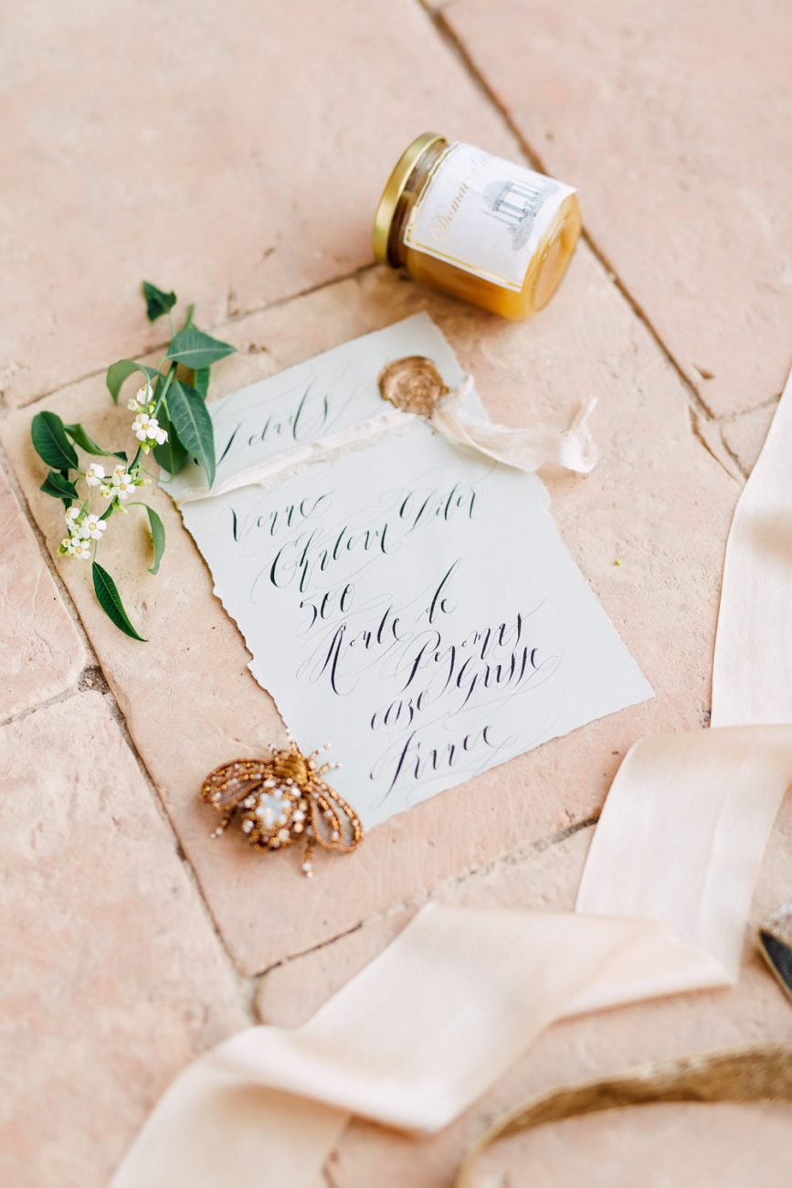 French Wedding Invitations - venue details with grey and black
