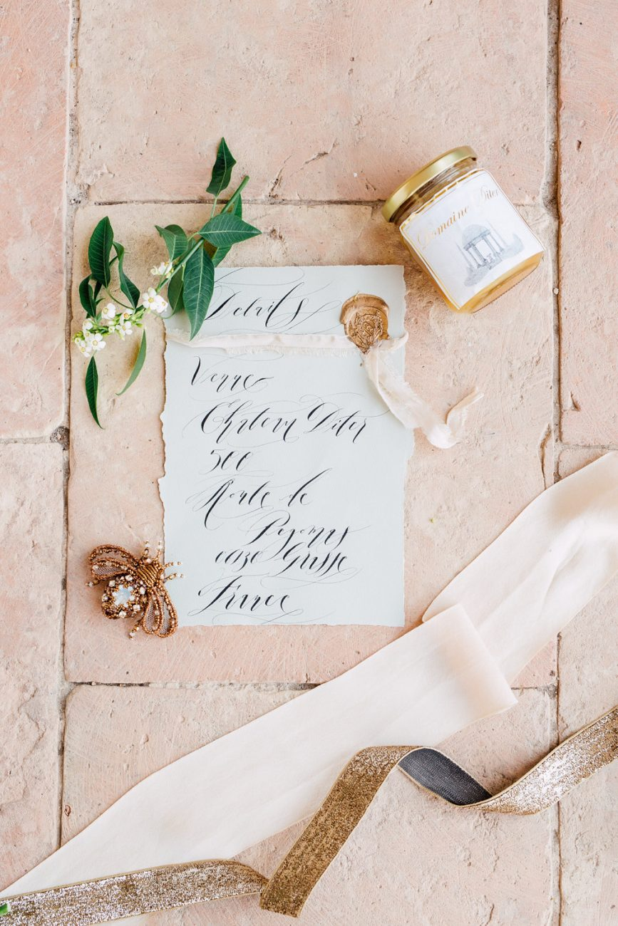 French Wedding Invitations - venue location card with silk ribbon and gold wax seal