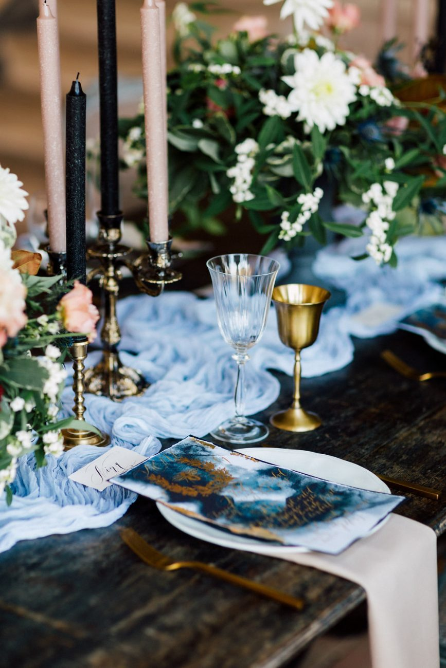 French Wedding Invitations - wedding menu with black candles