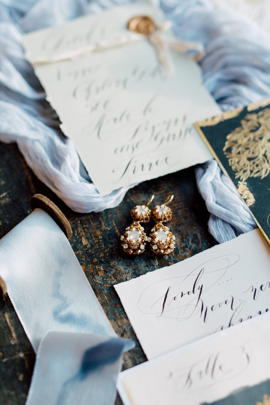 French Wedding Invitations with calligraphy