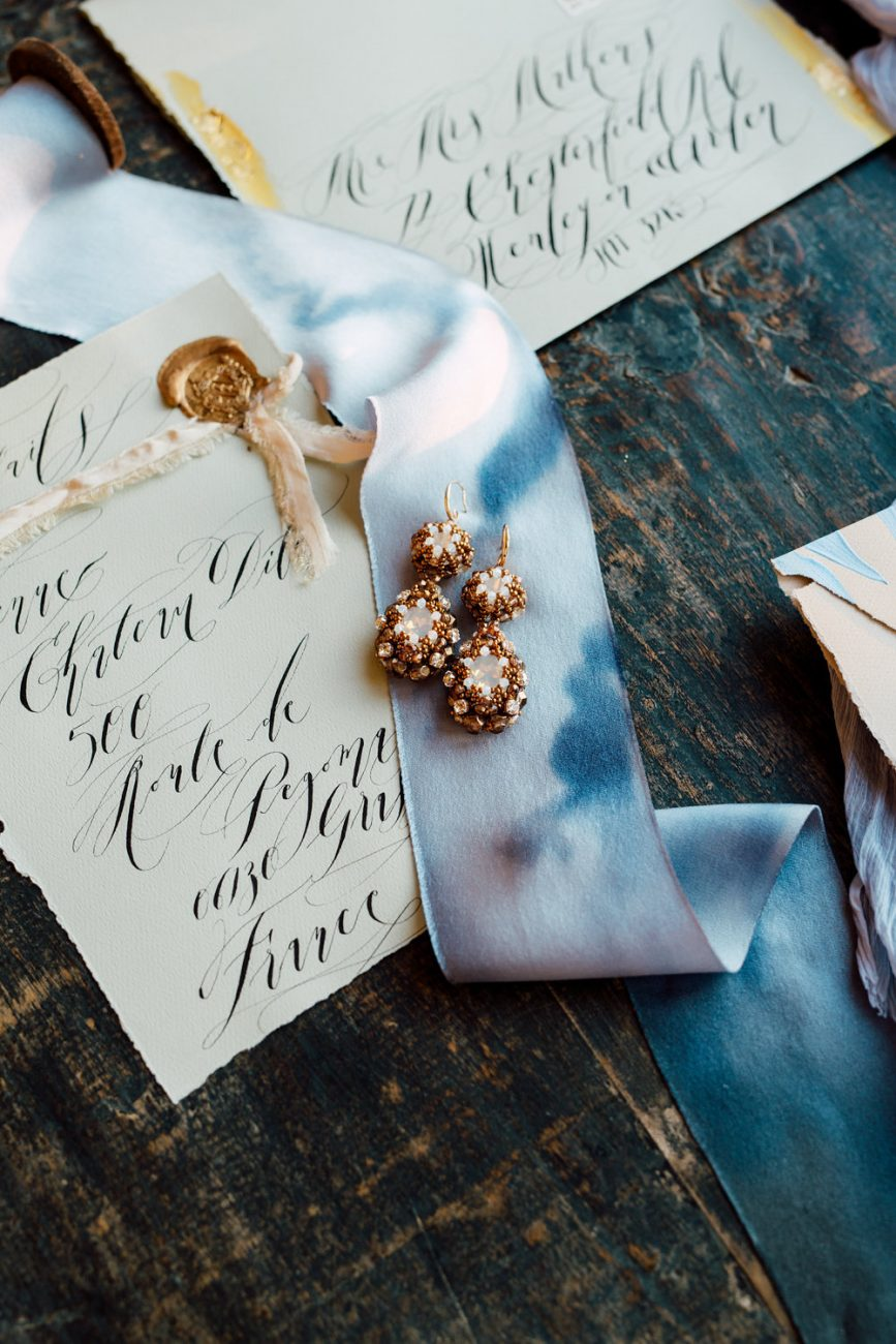 French Wedding Invitations - with venue card with a gold wax seal
