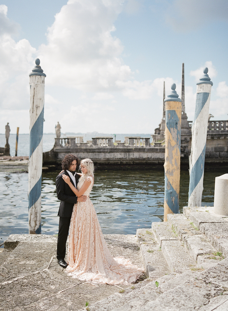 Vizacaya Wedding Inspiration couple by waterfront