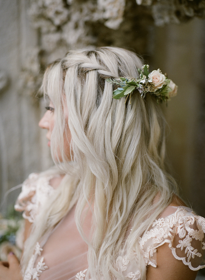Vizcaya Wedding Inspiration bride showig her braided hair with flowers