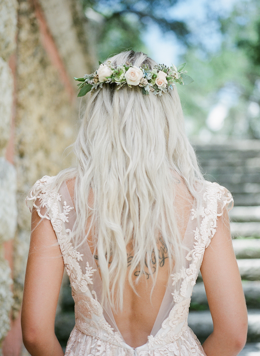 Vizcaya Wedding Inspiration bride's back with floral crown and deep v neck dress