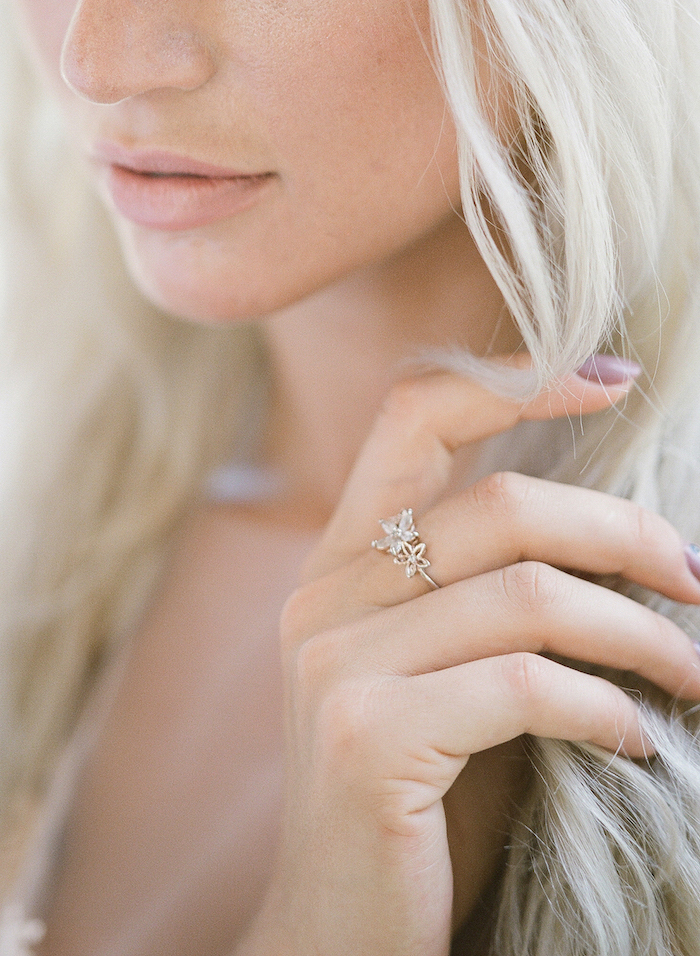 Vizcaya Wedding Inspiration close up of bride's face showing ring
