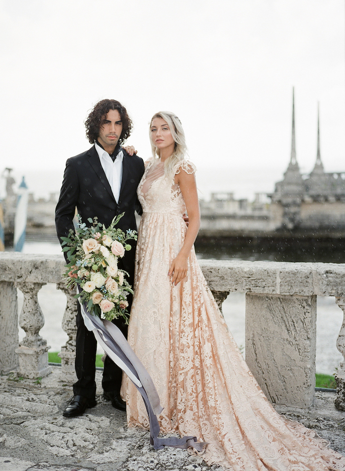 Vizcaya Wedding Inspiration couple looking straight ahead