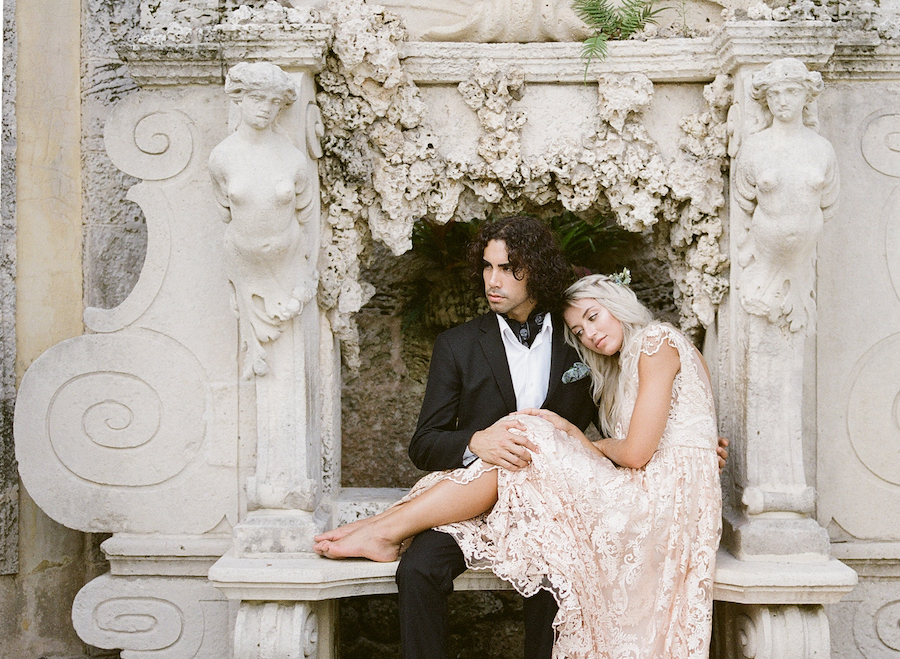 Vizcaya Wedding Inspiration couple seating inside alcove