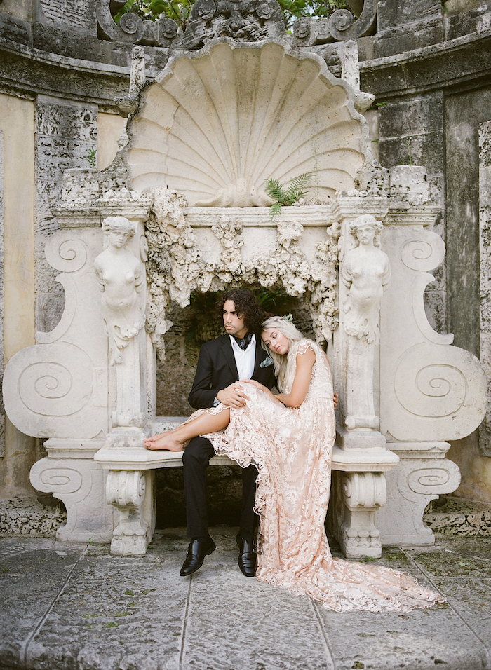 Vizcaya Wedding Inspiration couple sitting on bench