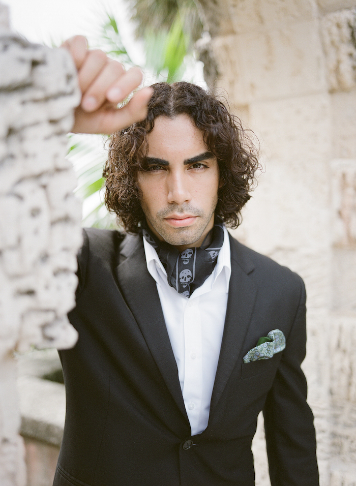 Vizcaya Wedding Inspiration groom in black tuxedo