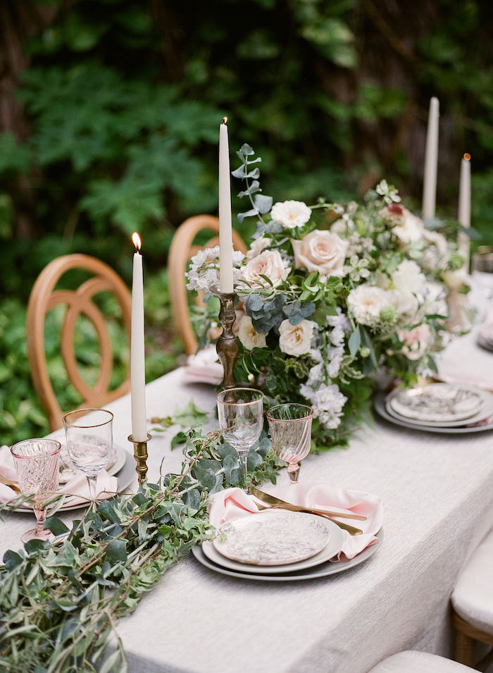 Vizcaya Wedding Inspiration place setting with roses and blush plates