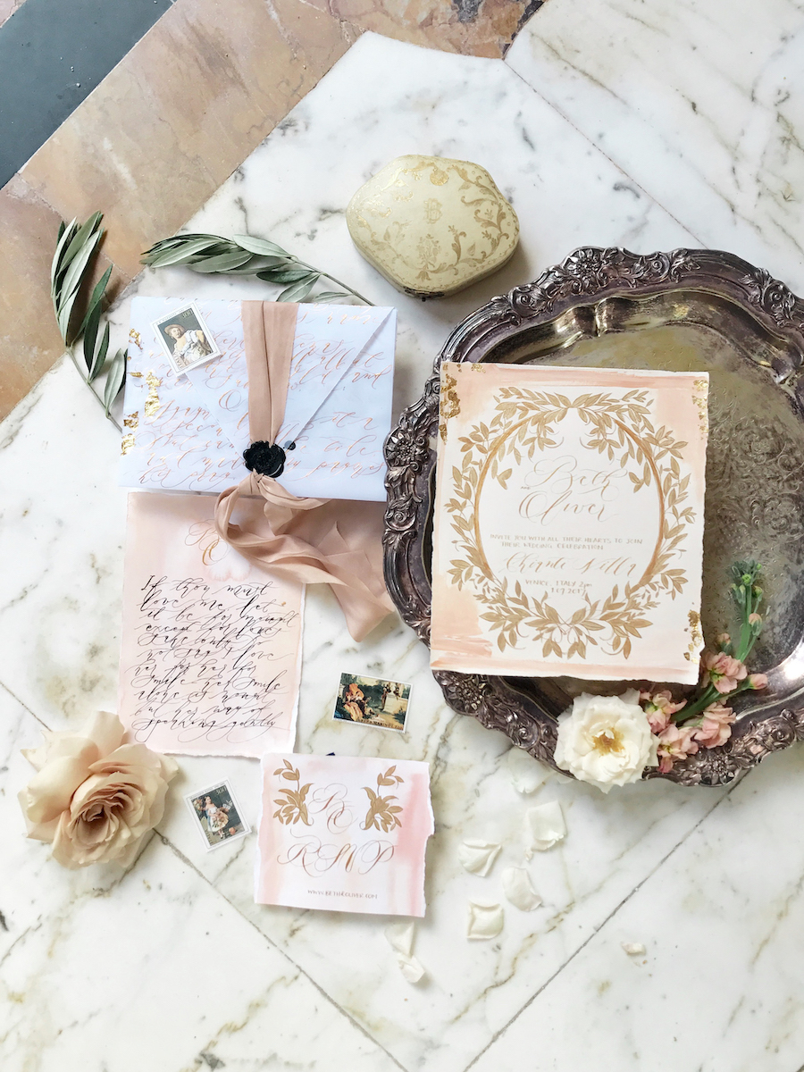 Vizcaya Wedding Inspiration wedding invitation suite with gold and blush accents with vellum envelope