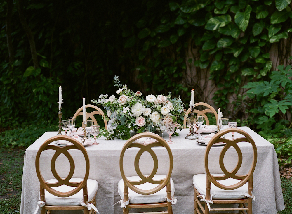 Vizcaya Wedding Inspiration wedding with table scape ideas with wooden chairs