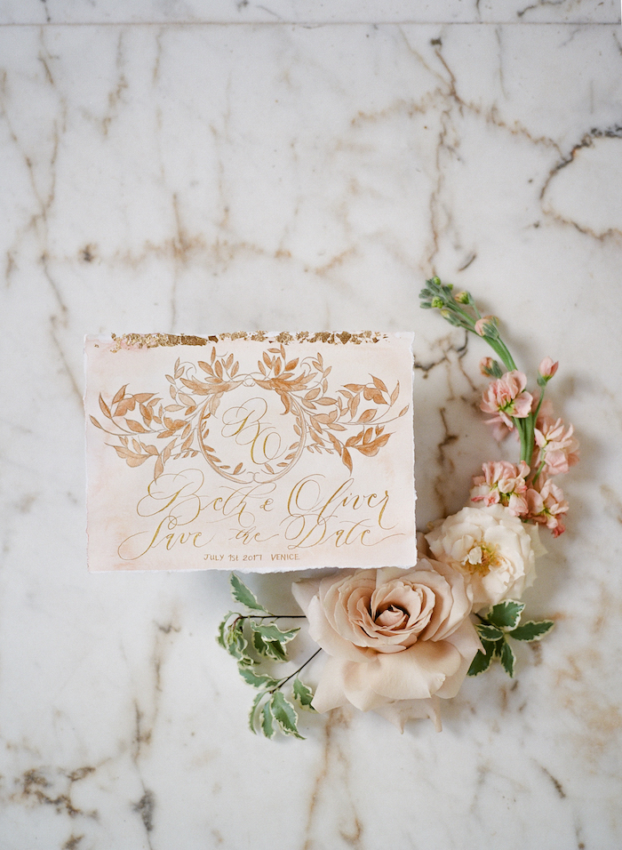 Vizcaya Wedding Inspiration with blush save the date with gold calligraphy