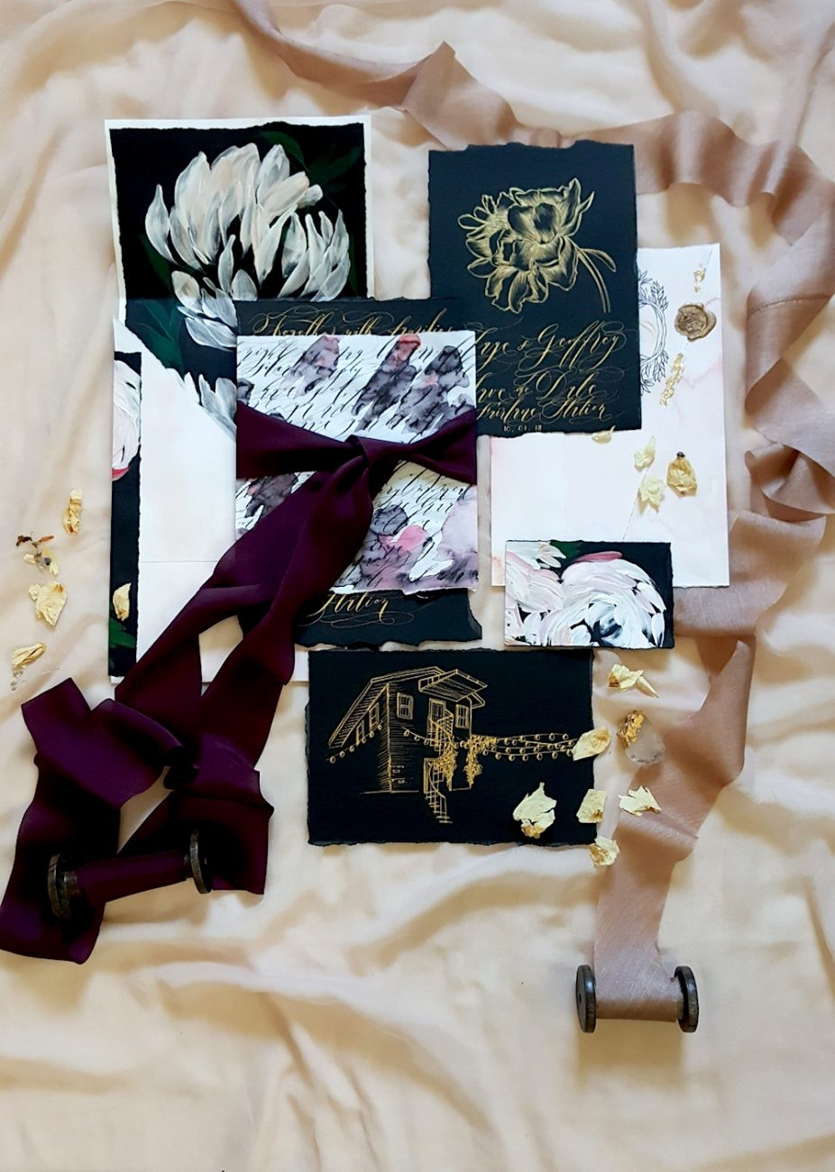 Black Bordeaux custom hand painted invitations full suite