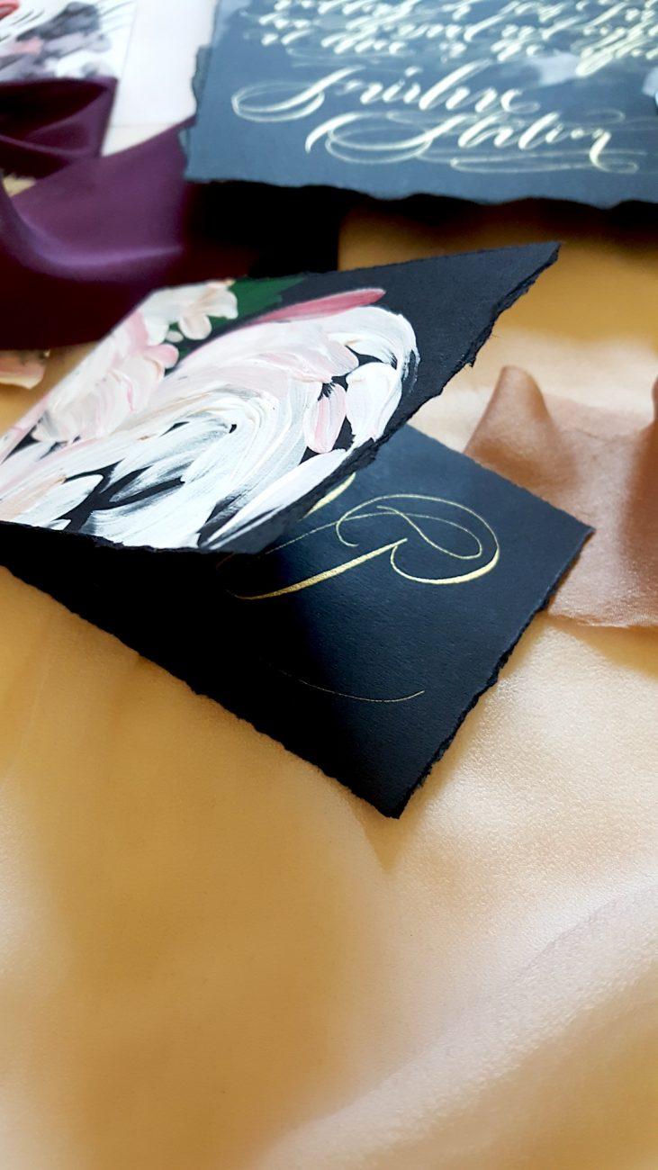 Black Bordeaux custom hand painted invitations rsvp card