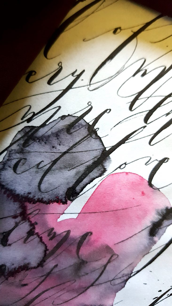 Black Bordeaux custom hand painted invitations watercolour wrap
