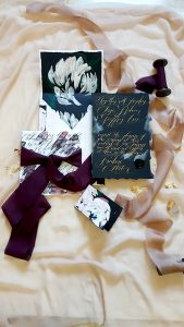 Black Bordeaux custom hand painted invitations with envelope