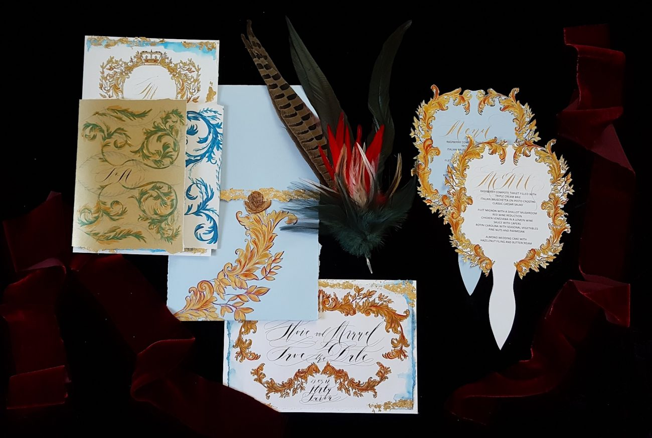 Couture Wedding Invitations menu and cards