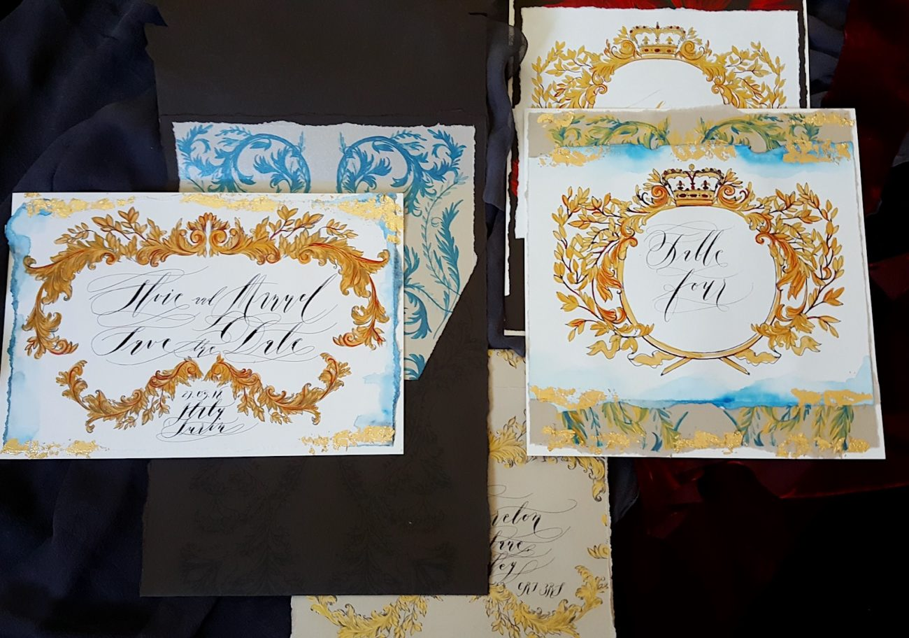 Couture Wedding Invitations with brown open envelope