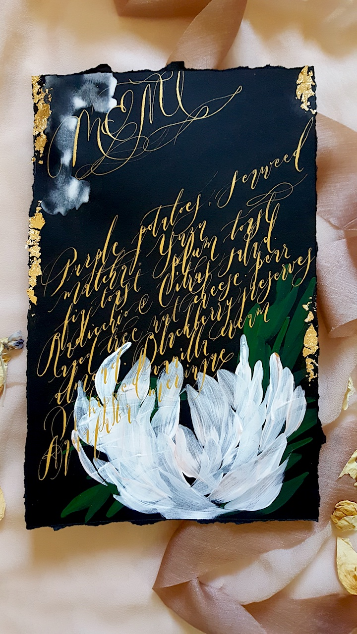 Custom Hand Painted Invitations black menu with gold calligraphy and flowers