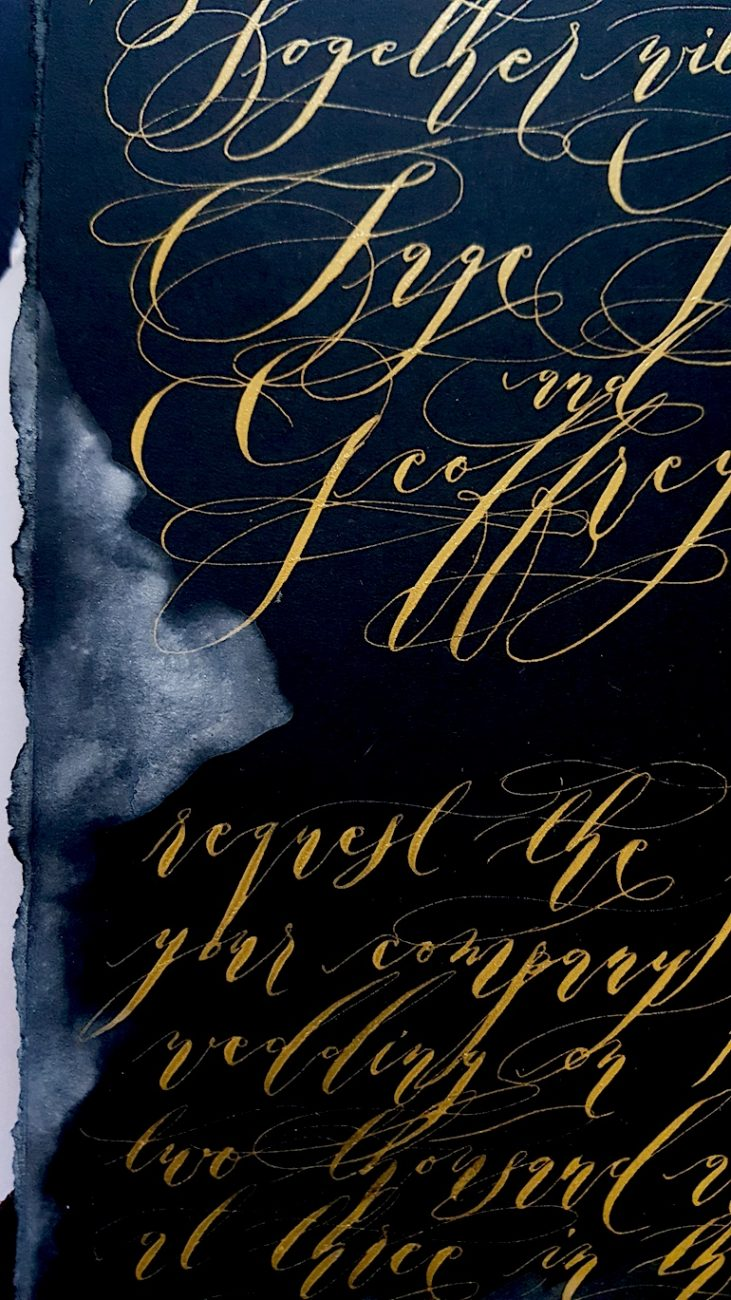 Custom Hand Painted Wedding Invitations black invitation with gold calligraphy