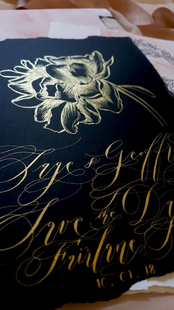 Custom Hand Painted Wedding Invitations black save the date card with gold flower