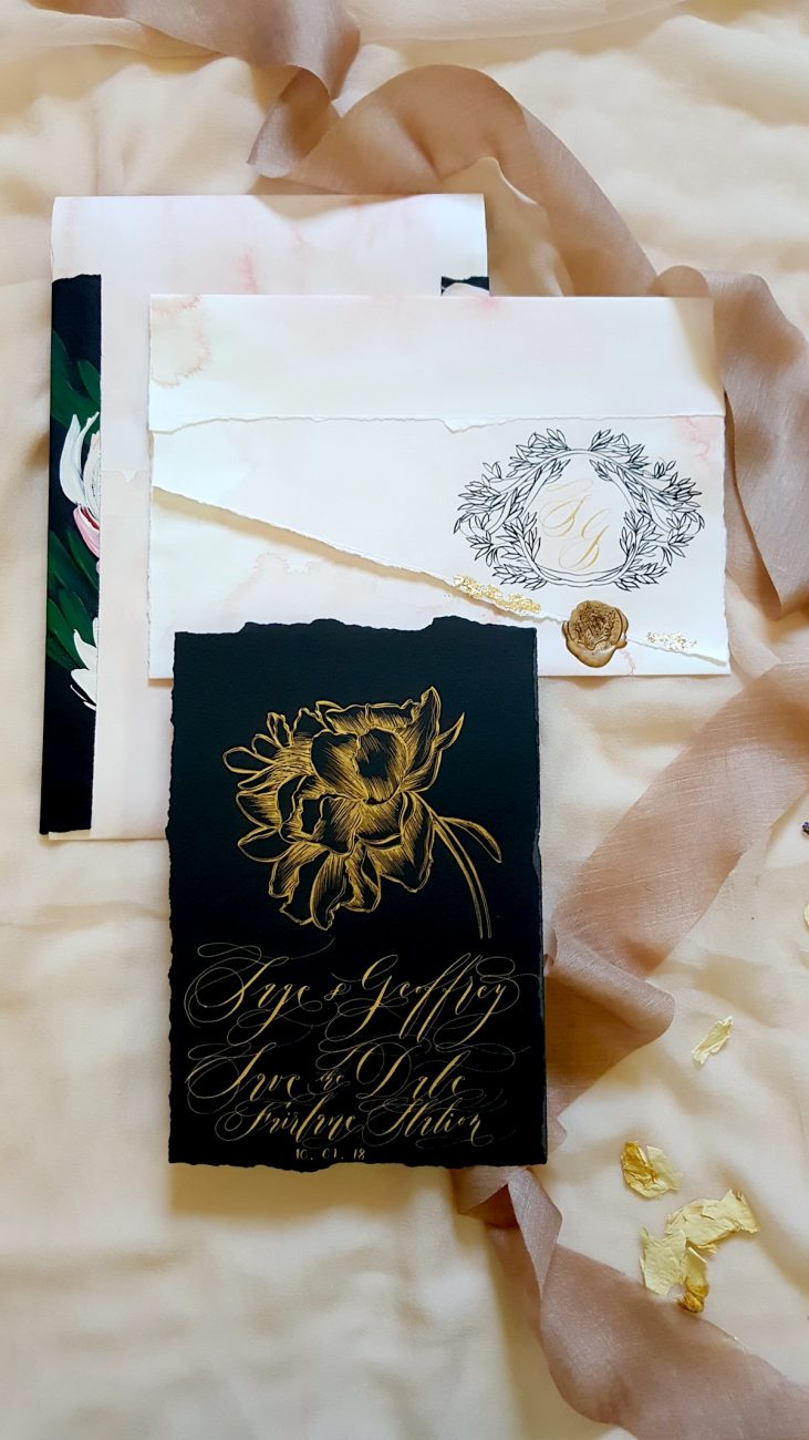 Custom Hand Painted Wedding Invitations black save the date with envelope