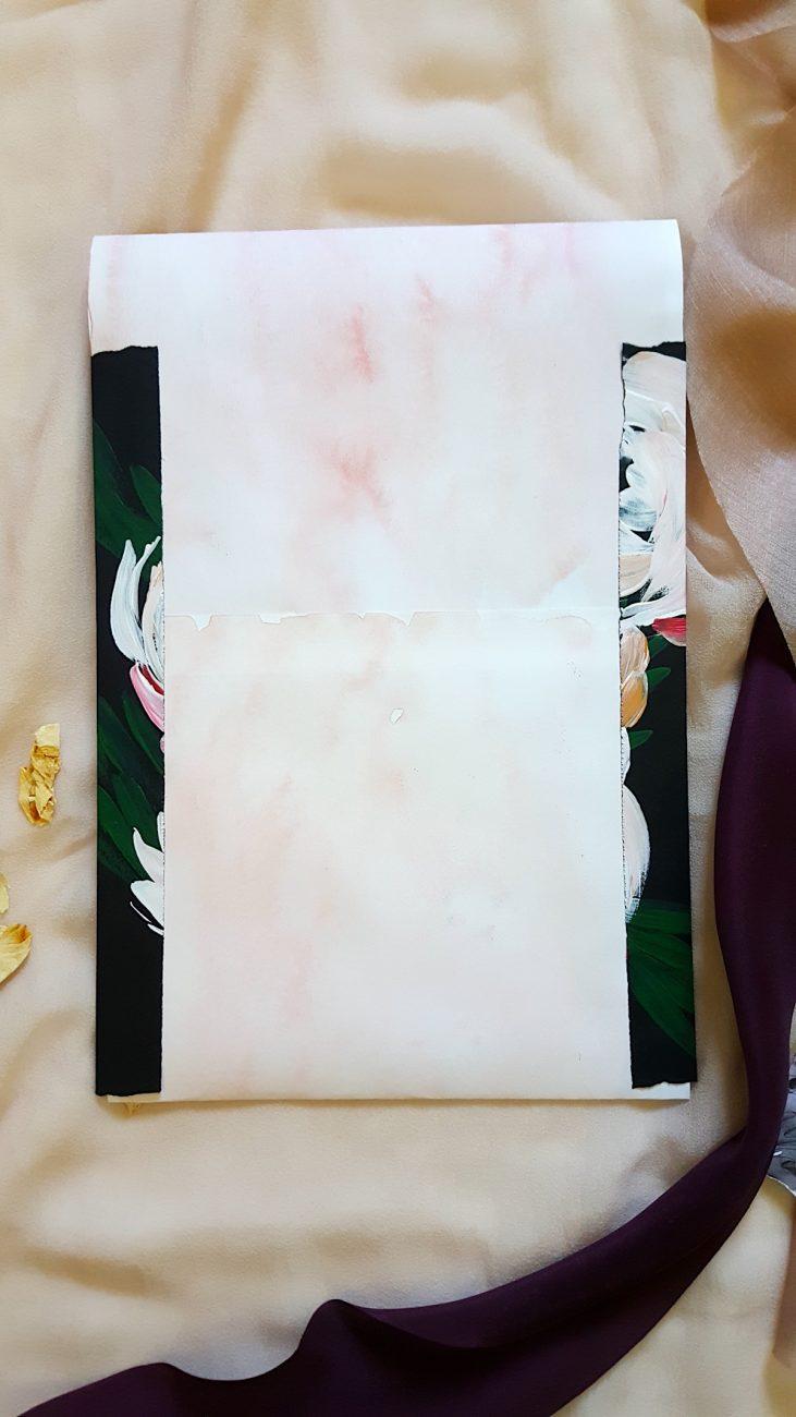 Custom Hand Painted Wedding Invitations envelope detail