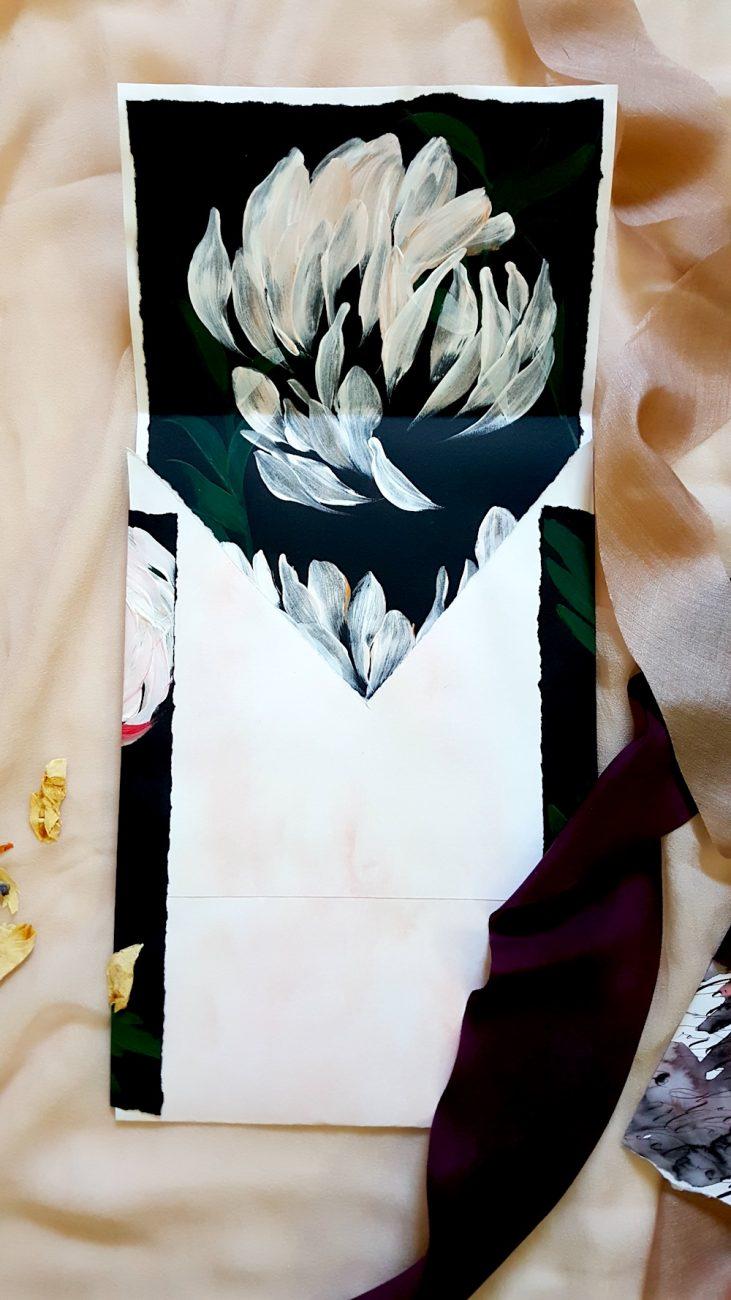 Custom Hand Painted Wedding Invitations envelope liner