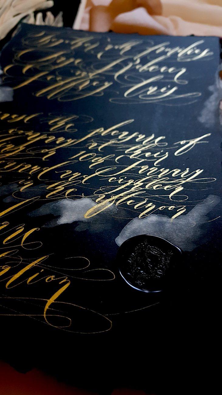 Custom Hand Painted Wedding Invitations main invitation with black wax