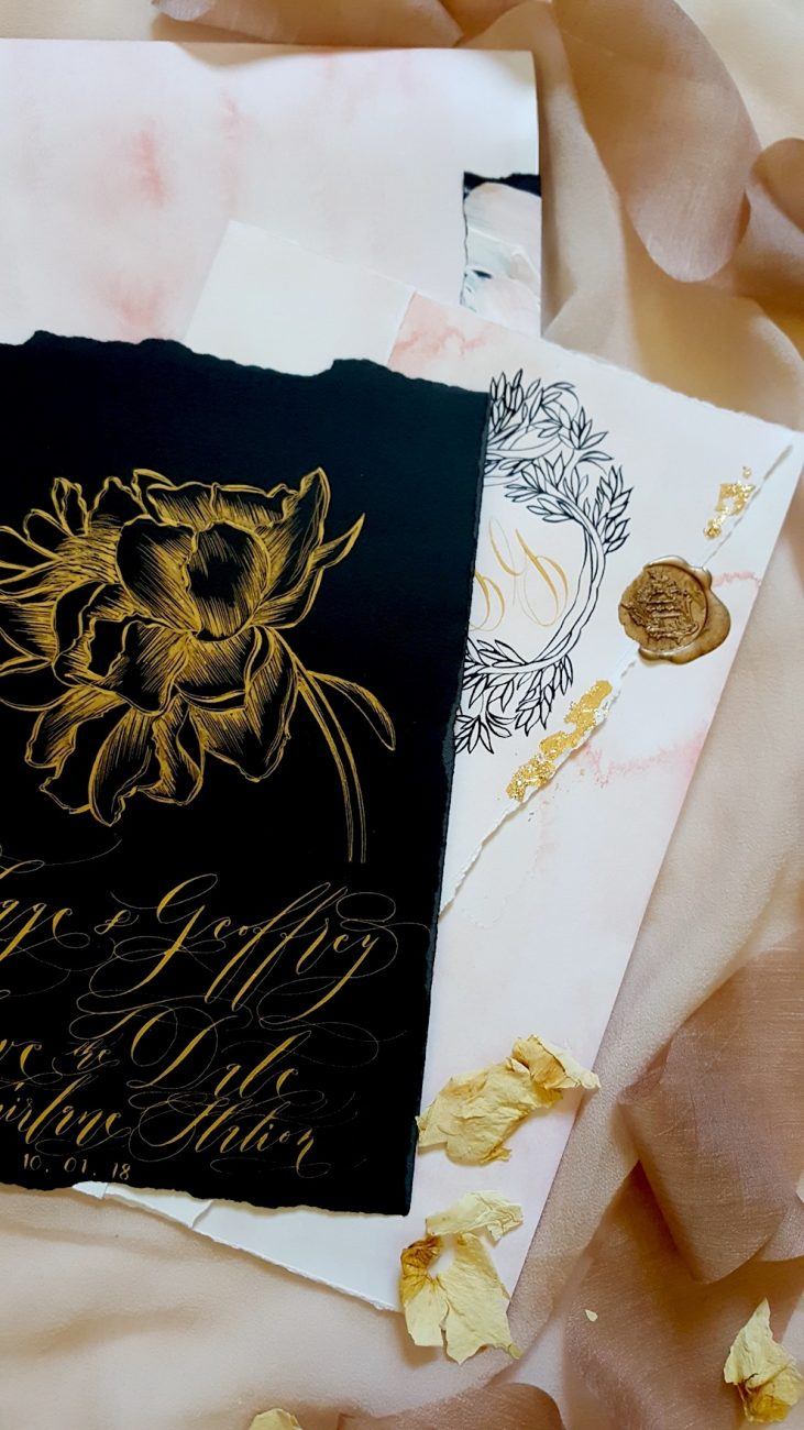 Custom Hand Painted Wedding Invitations save the date details with gold wax stamp