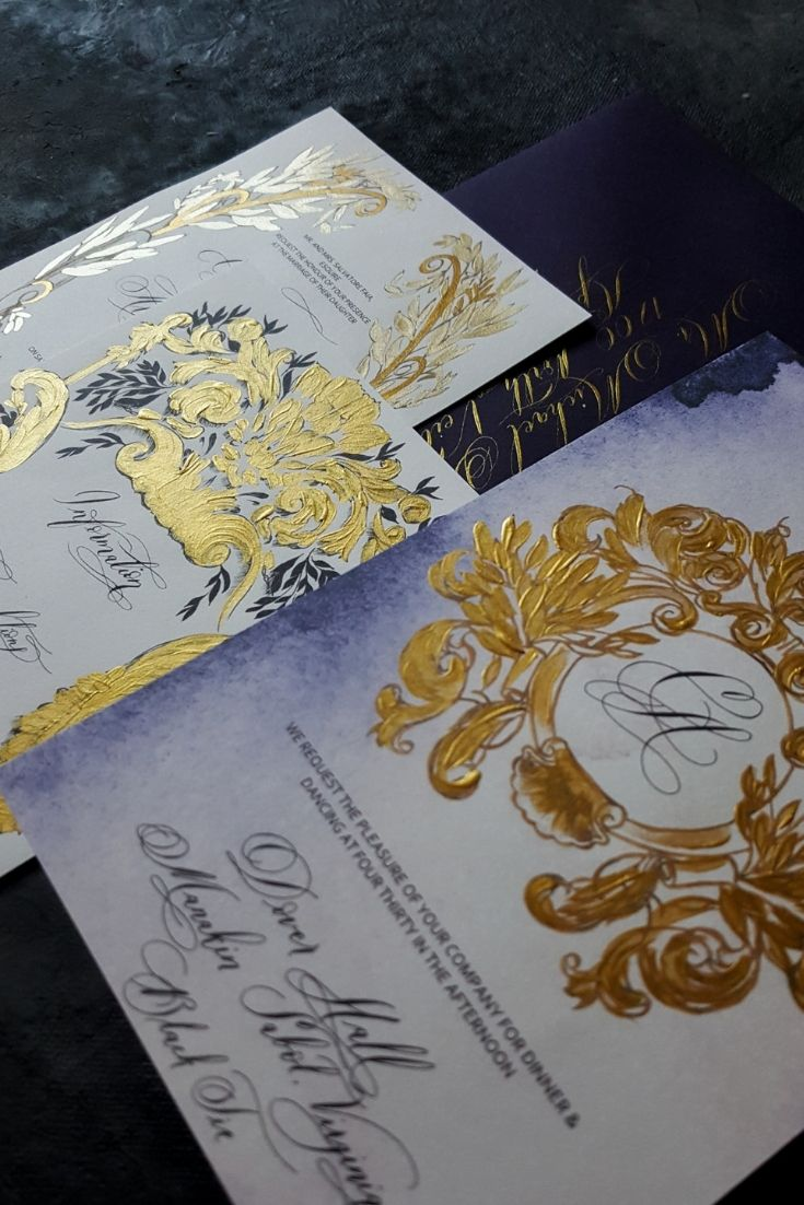 Custom hand painted wedding invitations with strong gold accents