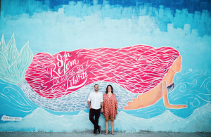 Destination Wedding Locations Brazil street art mermaid with pink hair